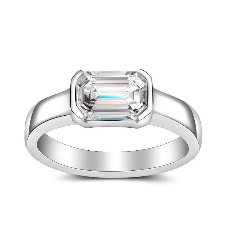 emerald cut bezel set engagement ring