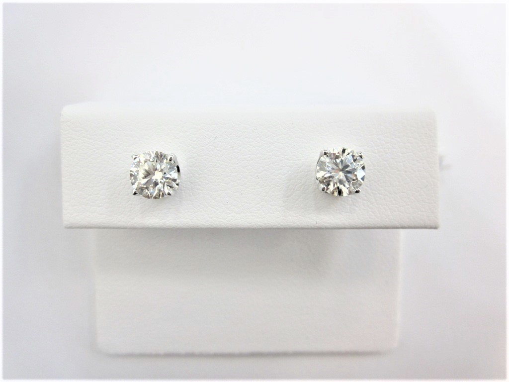 earrings gold p cut round carat white nc stud product diamond brilliant htm