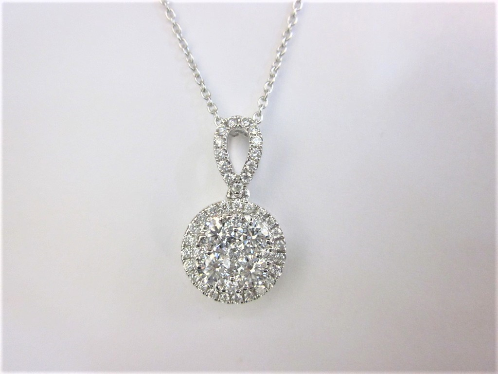 18k white gold round cluster diamond pendant donna jewelry co back to category aloadofball