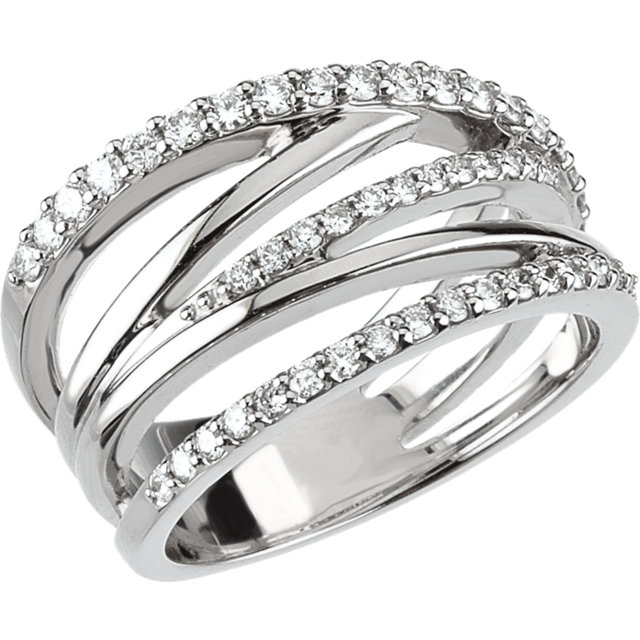 14k White Gold Diamond Criss Cross Ring Donna Jewelry Co