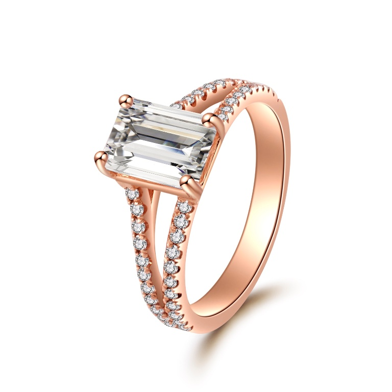 1 40 CT Rose Gold Emerald Cut Split Shank Diamond Engagement Ring