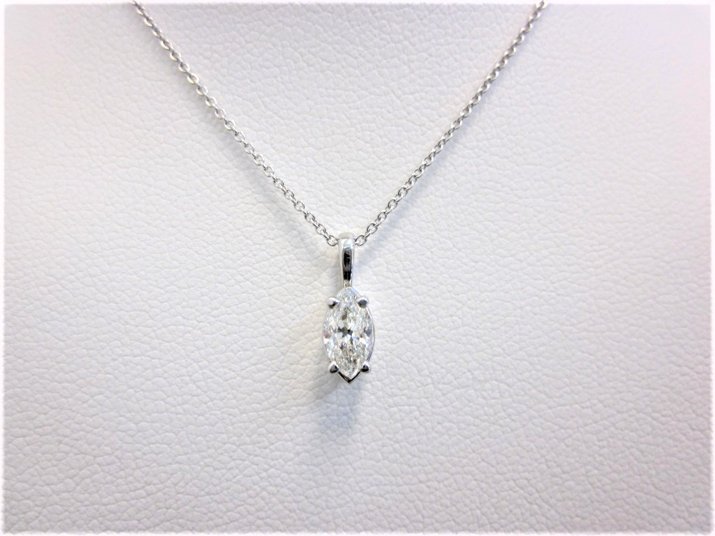 diamond setting shape in bale gold white marquise pendant single necklace solitaire