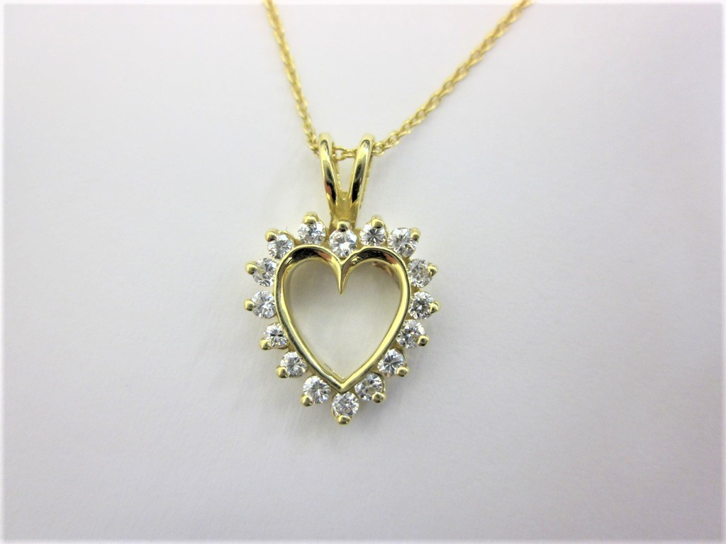 14k yellow gold diamond heart pendant donna jewelry co back to category aloadofball Images