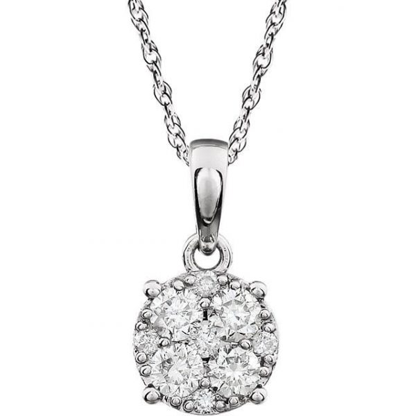 Round diamond cluster pendant necklace donna jewelry co back to category aloadofball Image collections