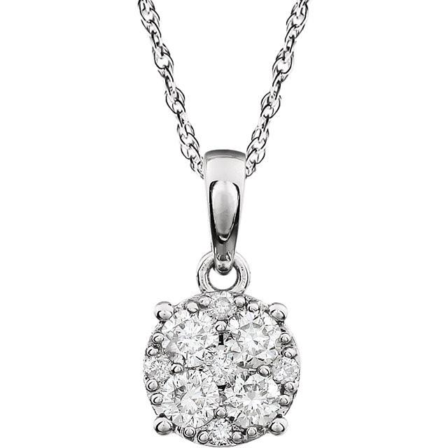 Round diamond cluster pendant necklace donna jewelry co back to category aloadofball Images