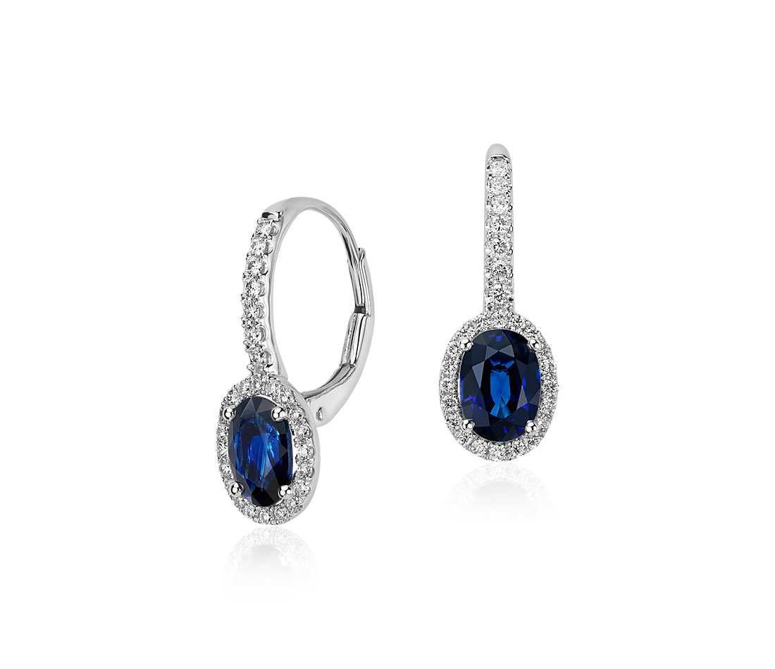 1992d1b5880a Oval Sapphire and Diamond Halo Leverback Earrings in 18k White Gold ...