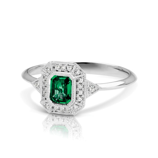 Emerald Cut Green Emerald Diamond ring