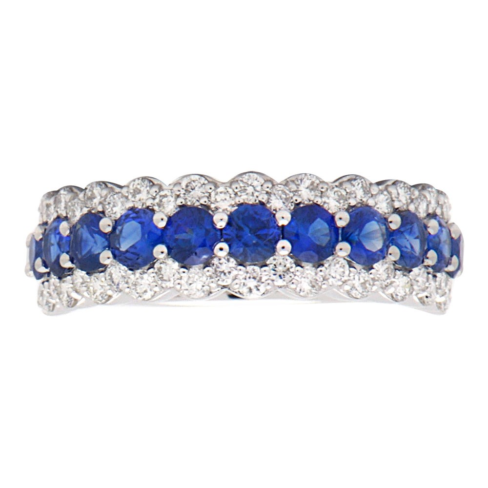 wedding ring band bands three diamonds row tcw sapphire anniversary blue wedandetails cfm