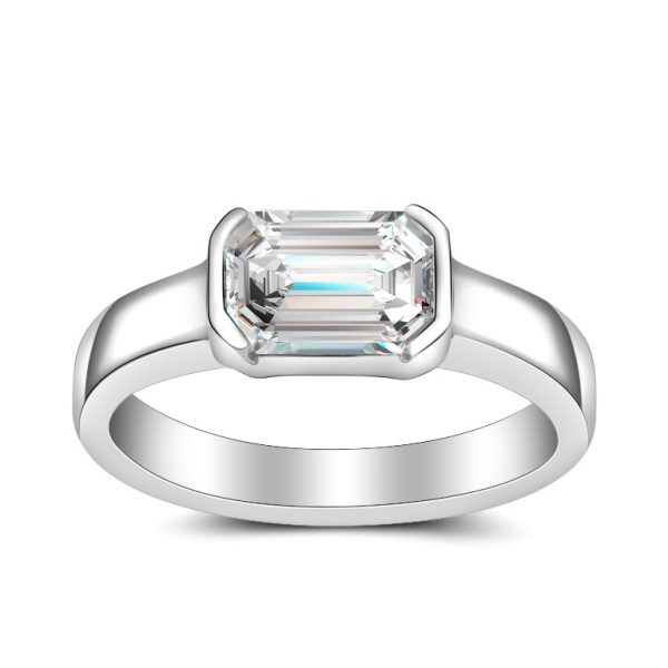 emerald cut diamond bezel set solitaire platinum